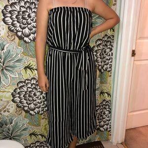 Black & White Striped Strapless Jumpsuit